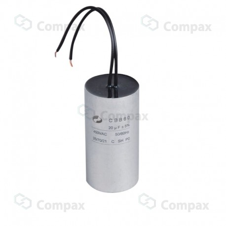 Kondensator silnikowy, 1uF, 450 V AC, 5%, 25x57mm, -40 +70°C, przewody, EMF