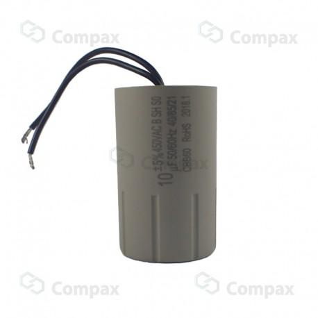 Kondensator silnikowy, CBB60, 10uF, 450 V AC, 5%, 40x65mm, -40 +85°C, przewody 100mm, BM