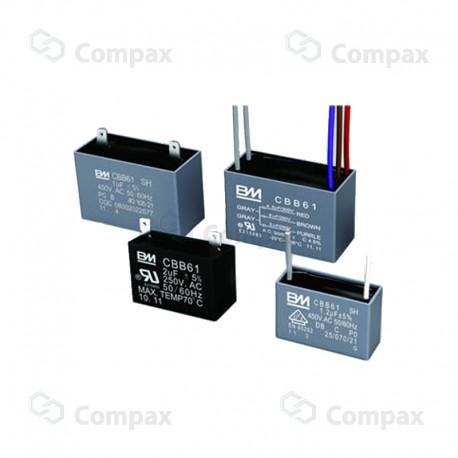 Kondensator silnikowy, 8uF, 250 V AC, 5%, 37x17x29xmm, -25 +70°C, konektory , BM