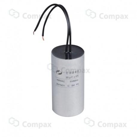 Kondensator silnikowy, 8uF, 450 V AC, 5%, 35x60mm, -40 +70°C, przewody, EMF