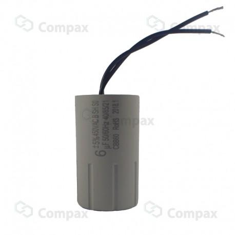 Kondensator silnikowy, CBB60, 6uF, 450 V AC, 5%, 35x60mm, -40 +85°C, przewody 100mm, BM