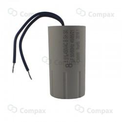 Kondensator silnikowy, CBB60, 8uF, 450 V AC, 5%, 35x65mm, -40 +85°C, przewody 100mm, BM