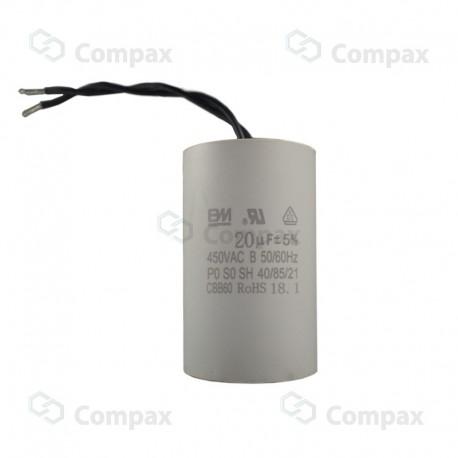 Kondensator silnikowy, CBB60, 20uF, 450 V AC, 5%, 45x72.5mm, -40 +85°C, przewody 100mm, BM
